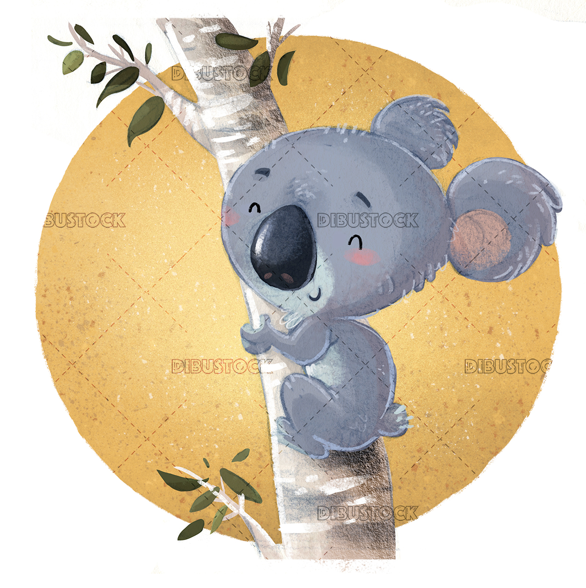 Koala in a tree with sun