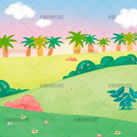 Landscape of palm trees