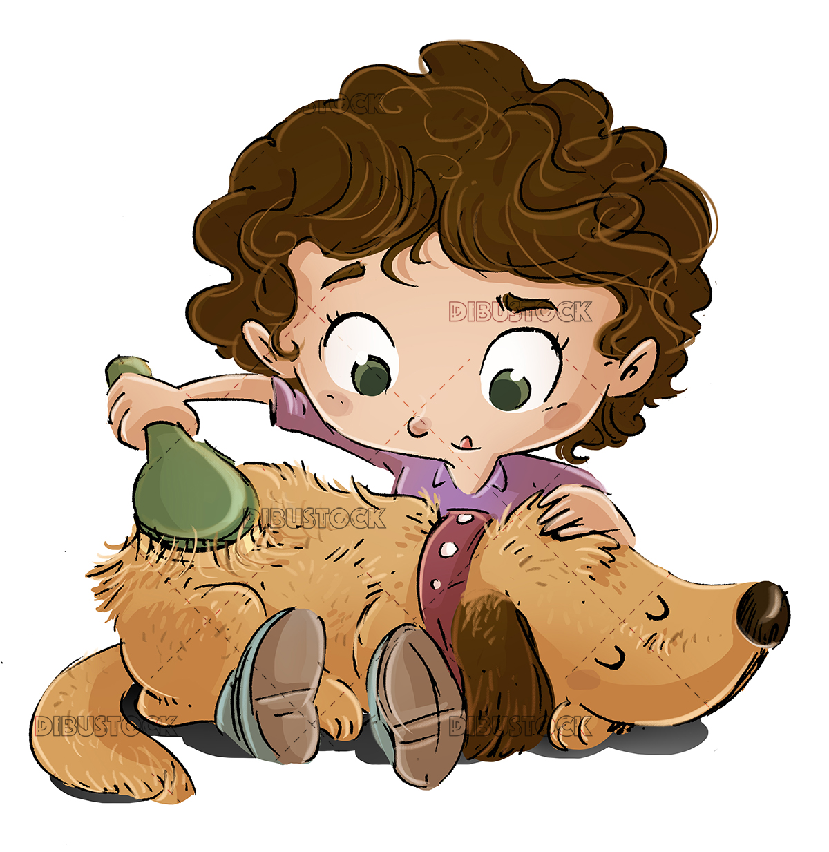 Little girl brushing a dog copia