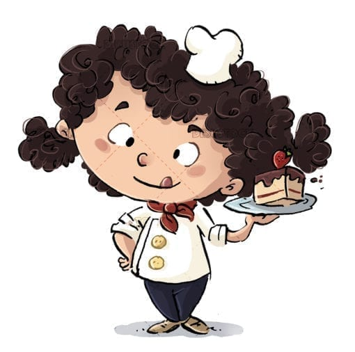 Little girl cook with cake