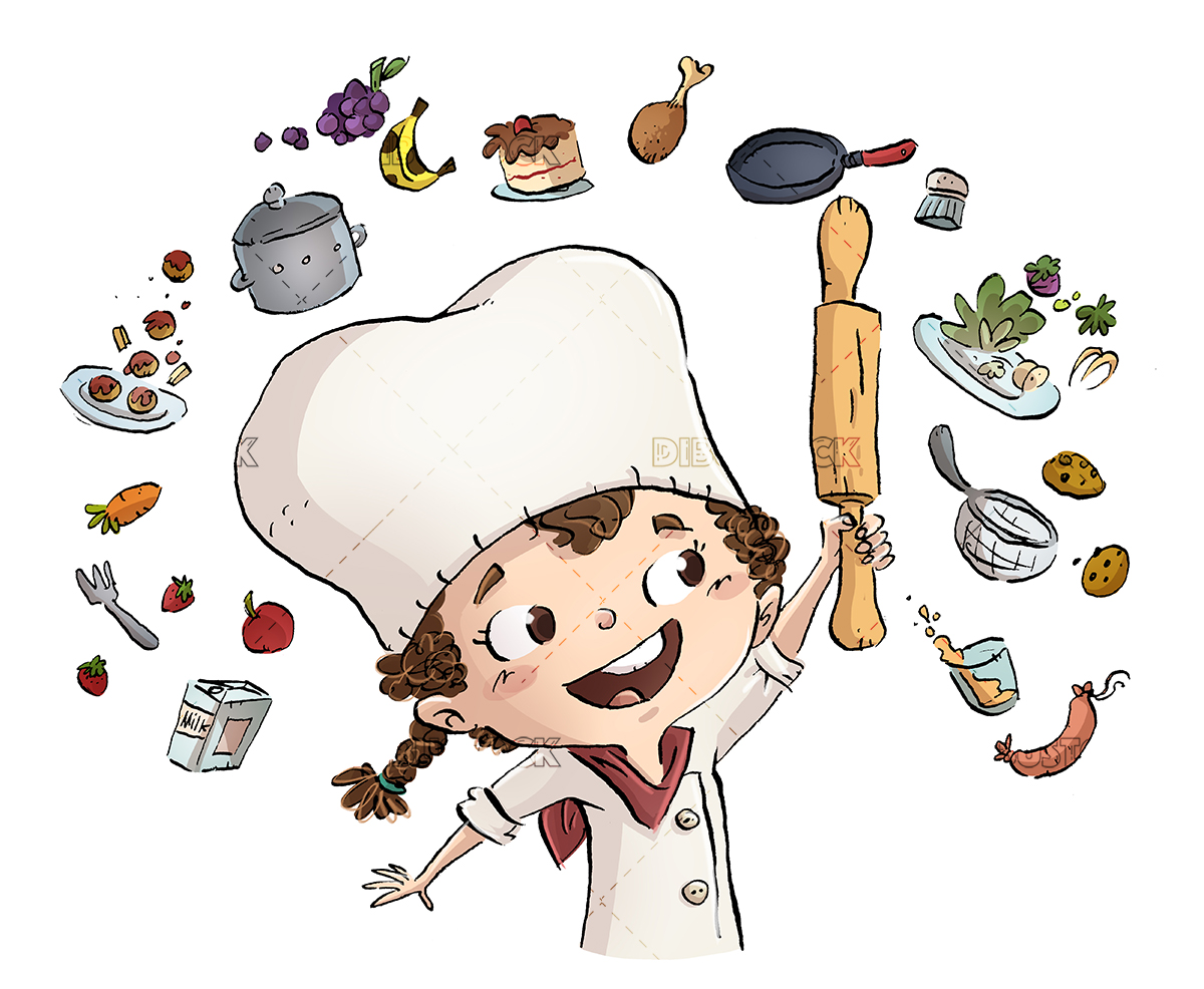 Little girl cook with ingredients around