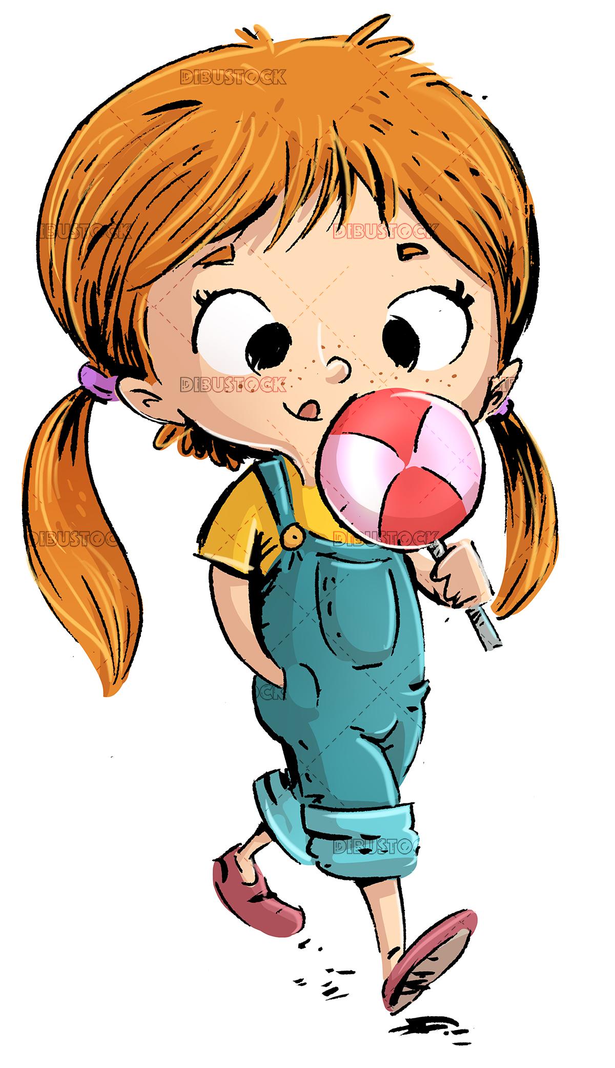 Little girl eating a lollipop candy