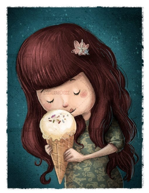 Little girl eating ice cream with background