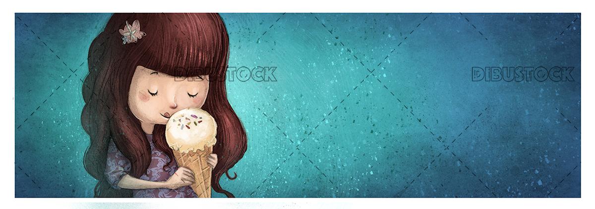 Little girl eating ice cream. Blue background