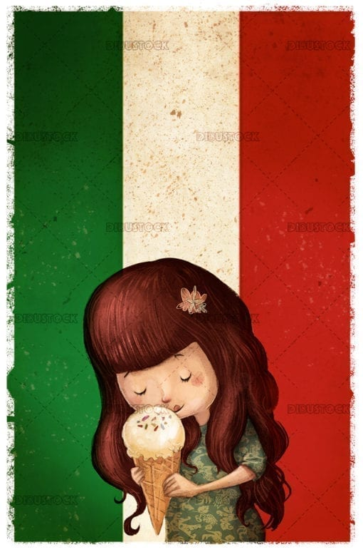 Little girl eating italian ice cream
