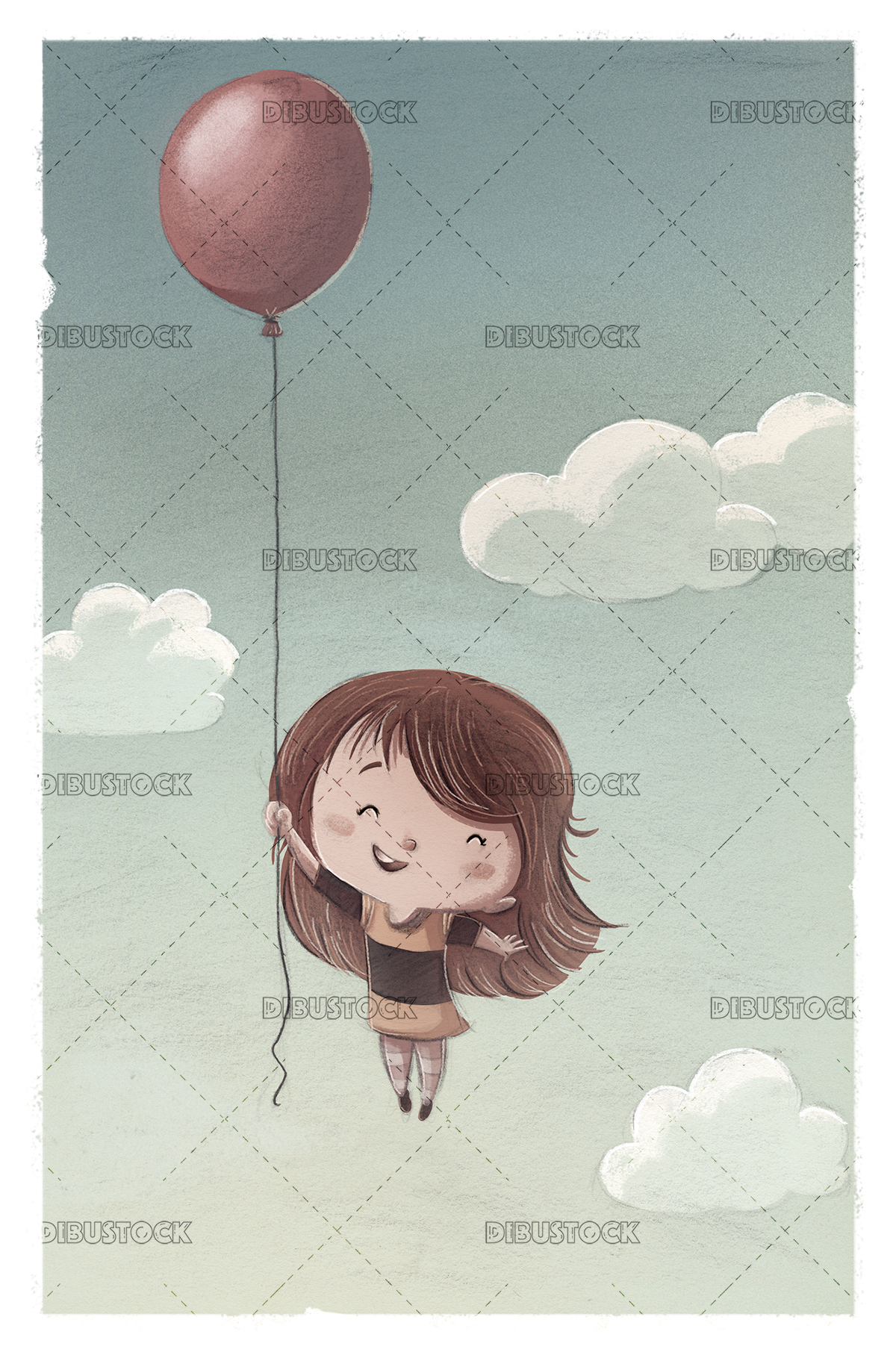 Little girl flying with thought bubble copia