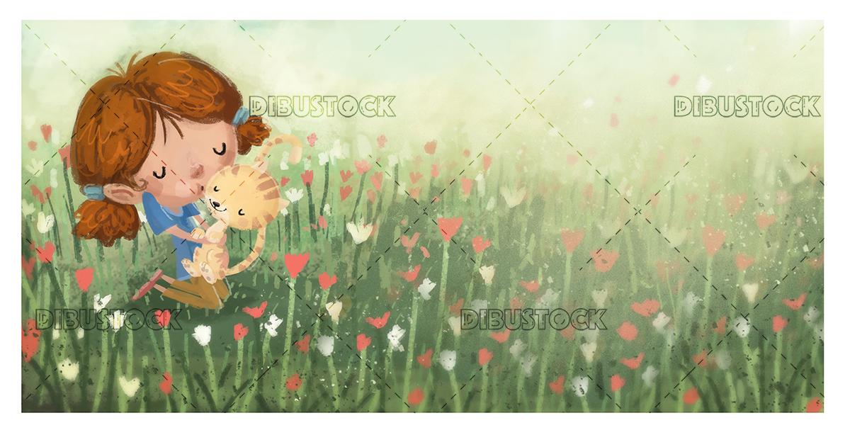 Little girl hugging a cat in a field of flowers