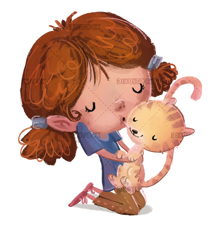 Little girl hugging a cat