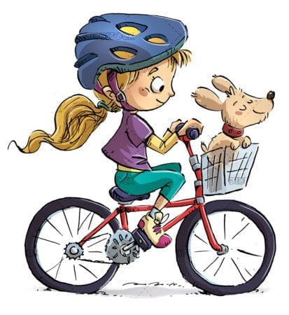 Little girl on bicycle with her dog
