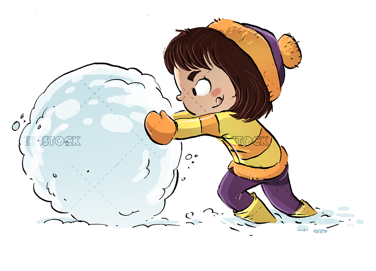 Little girl playing with snowball in winter