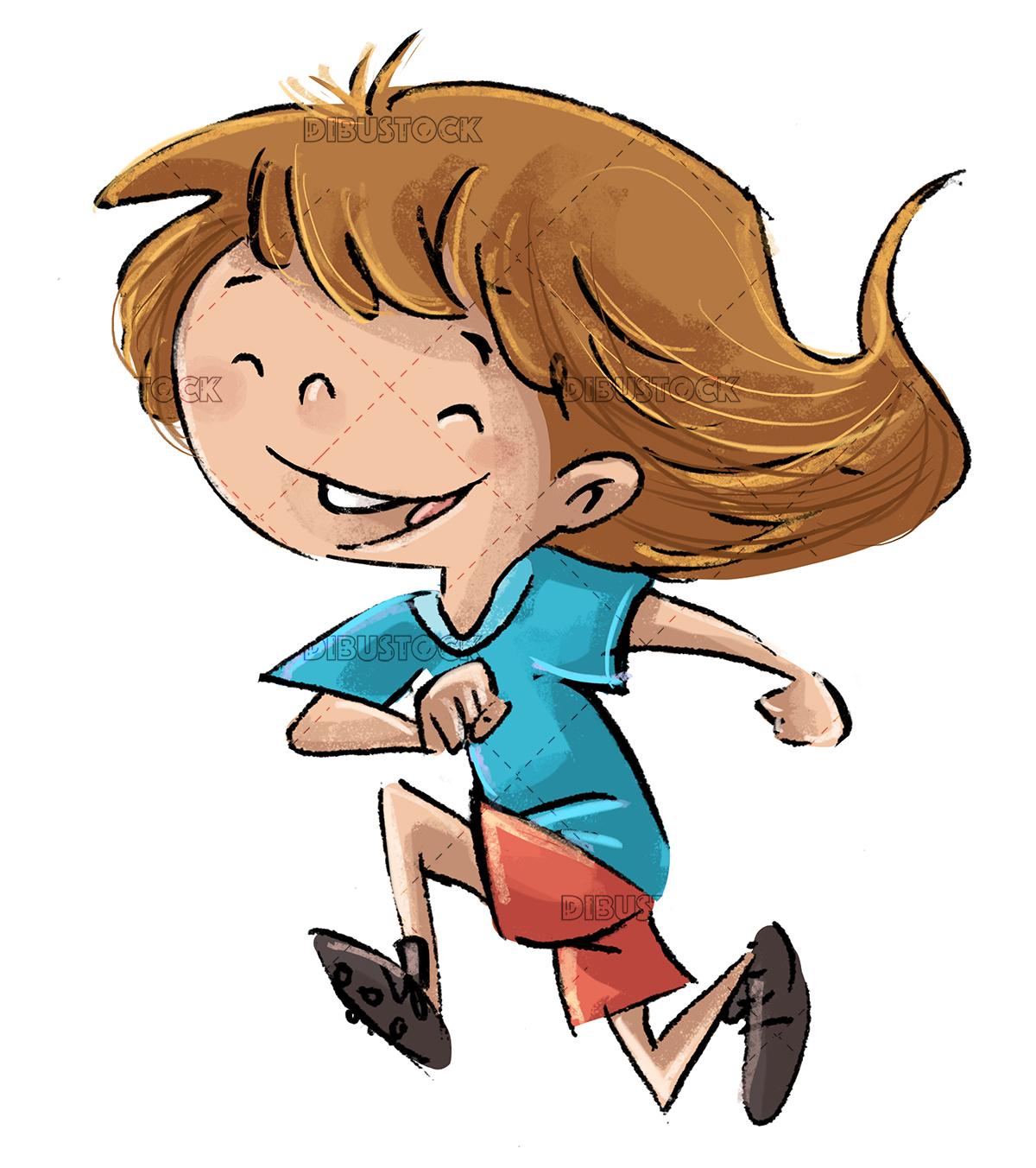 Little girl running happy