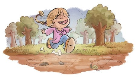 Little girl running through the woods