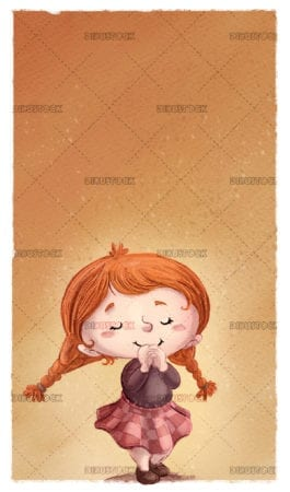 Little girl who is excited with textured background