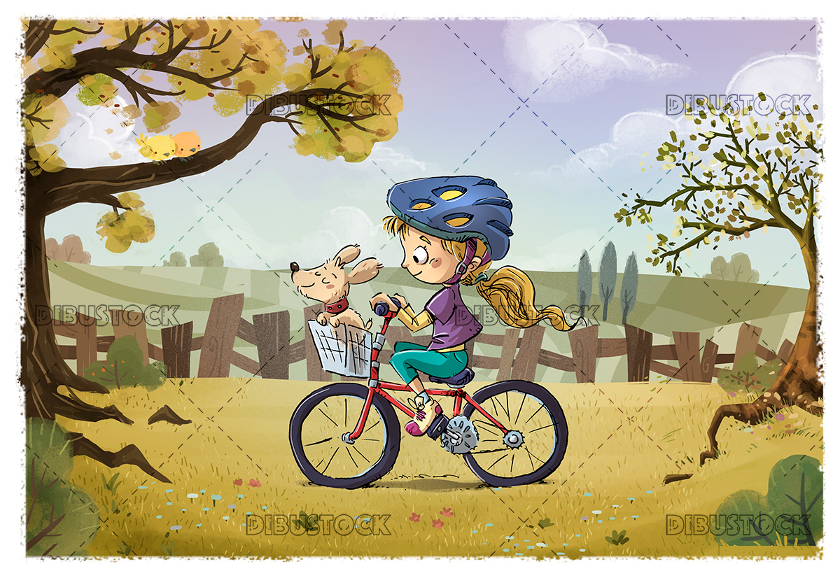 Little girl with bicycle in the field