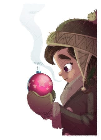 Little girl with christmas ornament