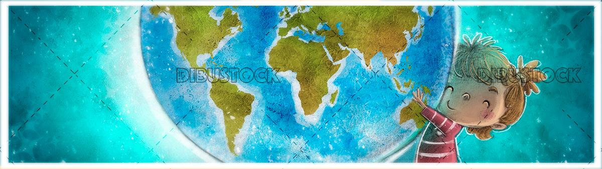 Little girl with earth globe