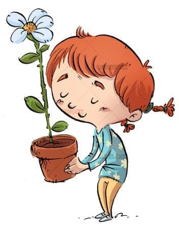 Little girl with flower in flowerpot