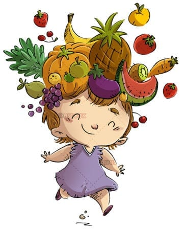 Little girl with fruit on her head