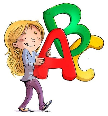 Little girl with letters of the alphabet