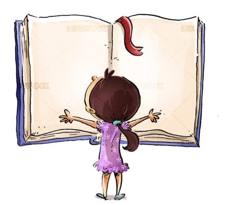Little girl with open book