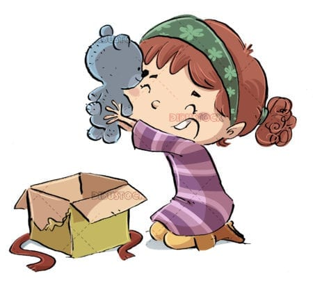 Little girl with plush gift