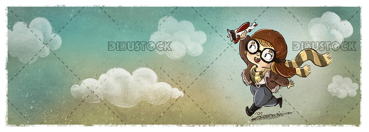 Little girl with toy airplane with clouds background