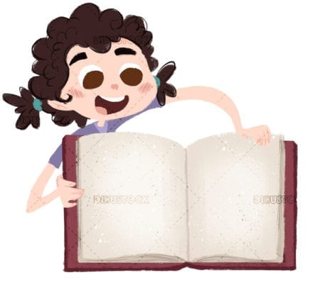 Little girl with with pigtails open book