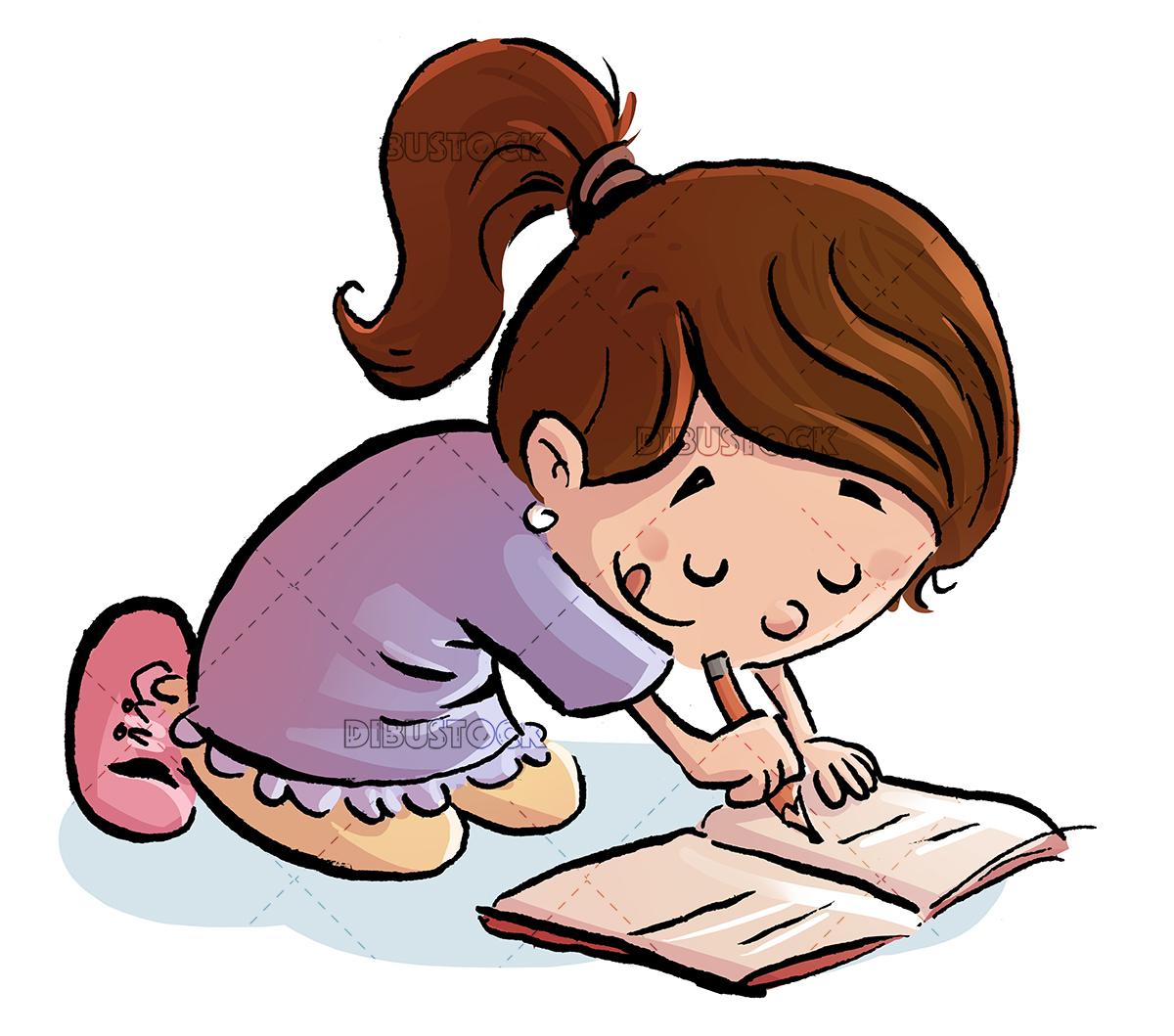 Little girl writing on the floor
