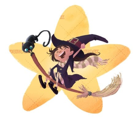 Little witch girl flying with black cat