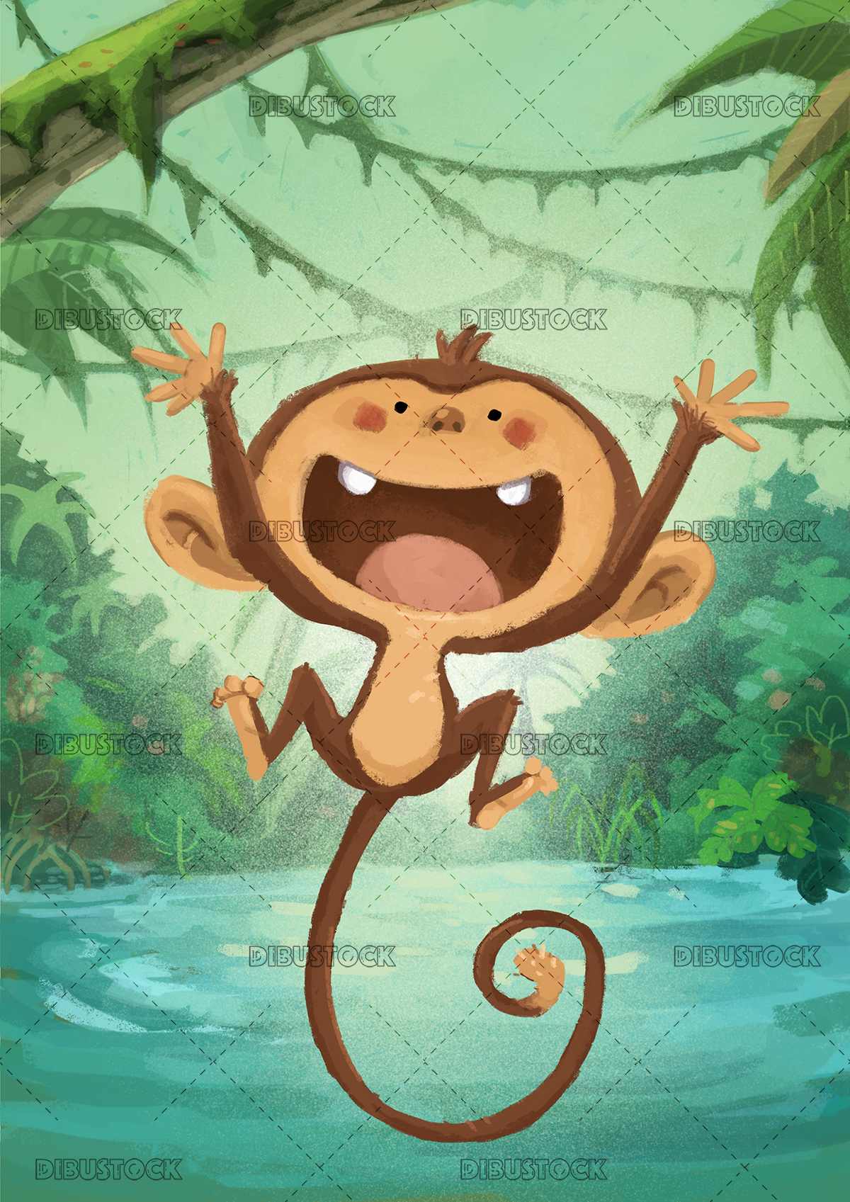Monkey jumping in the jungle