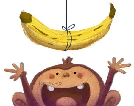 Monkey playing with banana