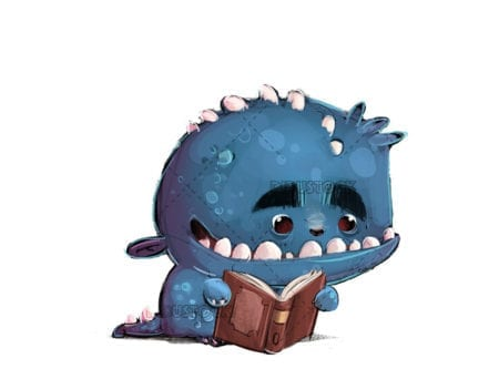 Monster reading a book white background