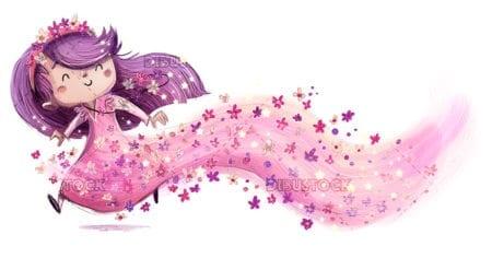 Princess fairy girl with flowers