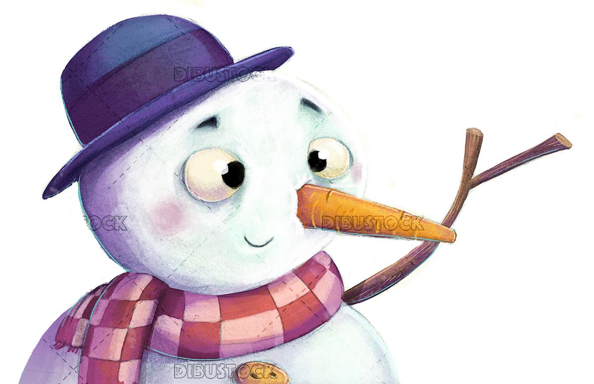 Smiling snowman white background