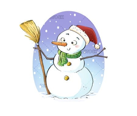 Snowman at Christmas white background