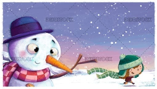 Snowman with child