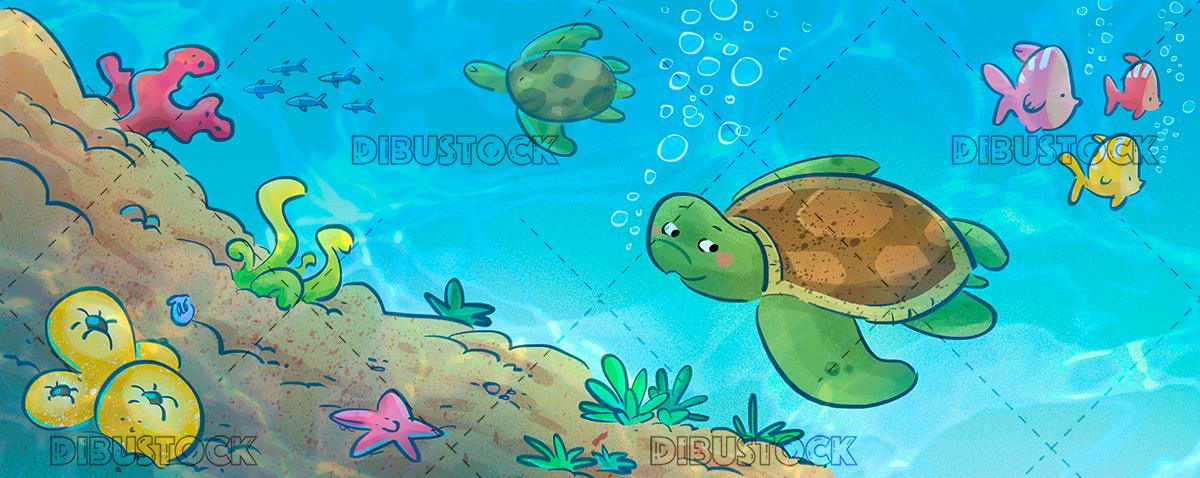 Turtle on sea floor