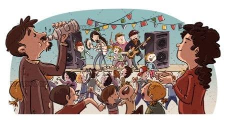 Village party with children