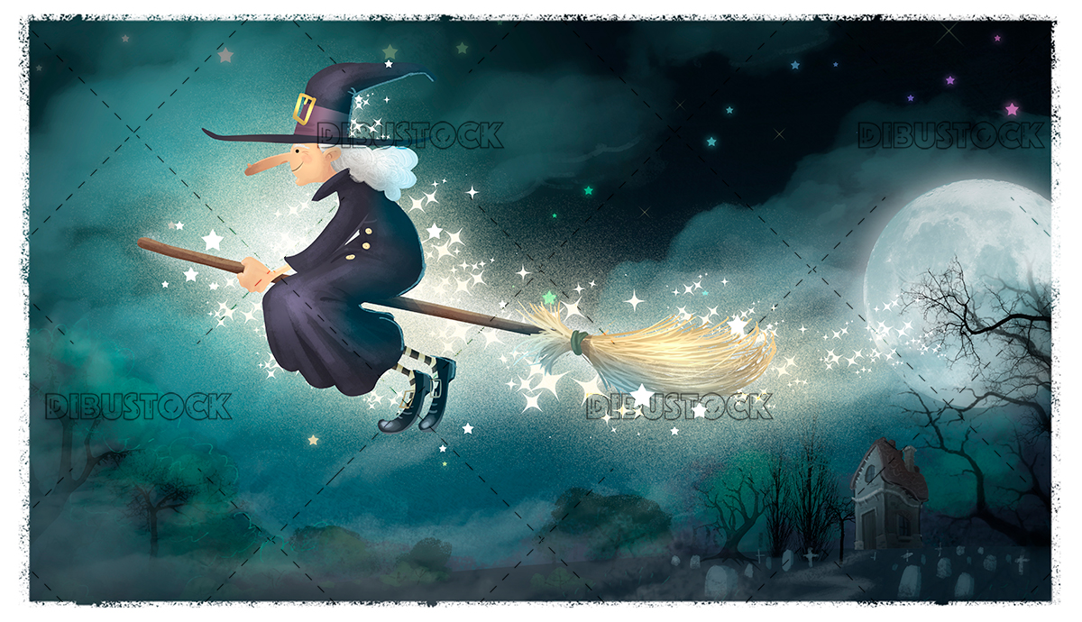 Witch flying in the dark night