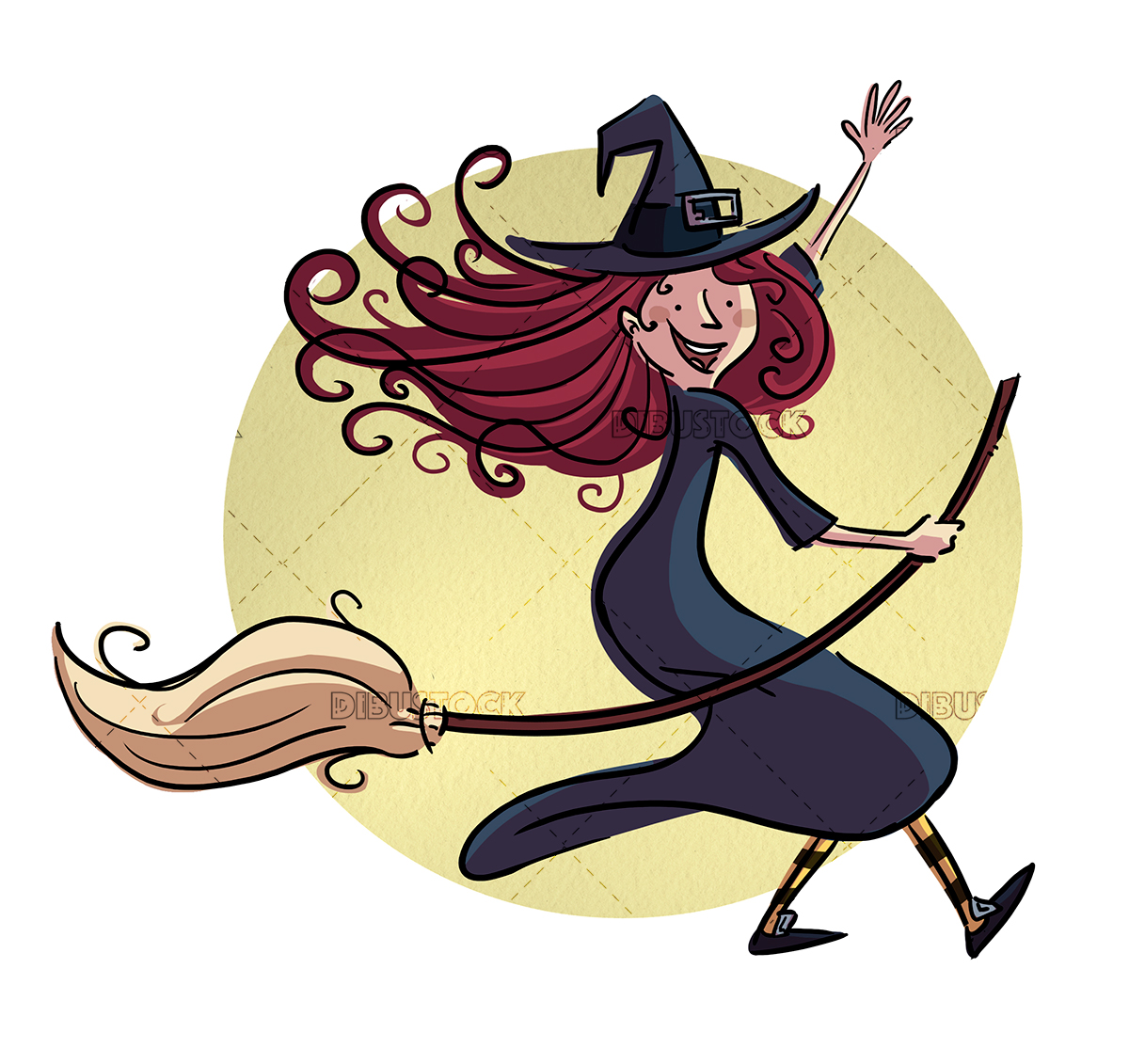 Witch mounted on a broom waving
