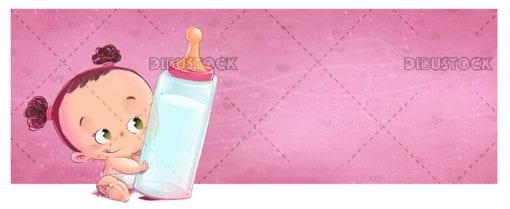baby girl with baby bottle copia