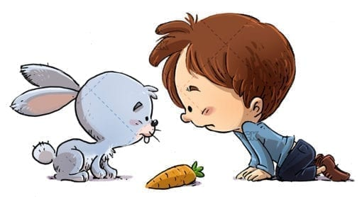 boy and rabbit with carrot