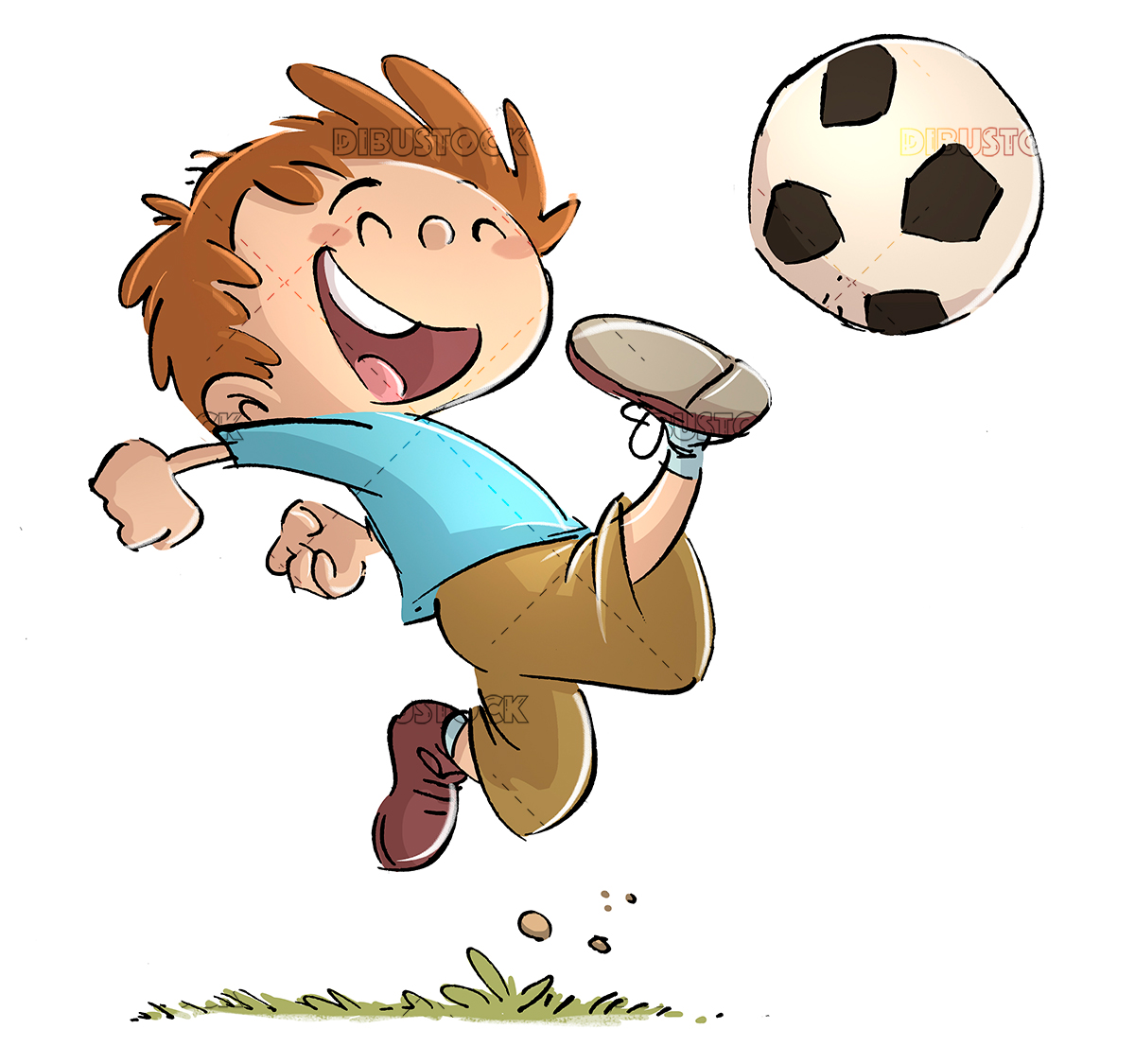 boy playing soccer with ball