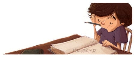 boy studying with books