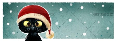 cat with christmas cap