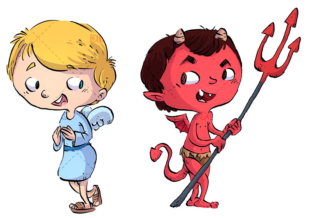 children angel and demon