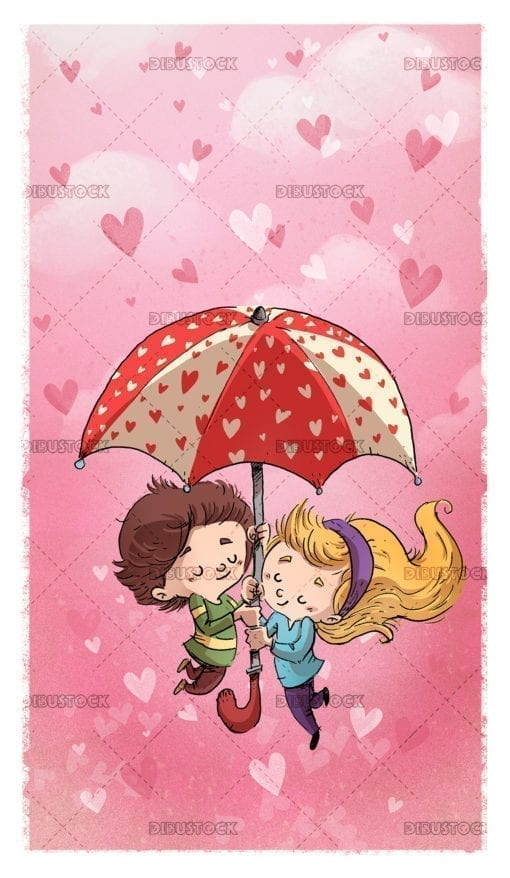 children in love with hearts umbrella