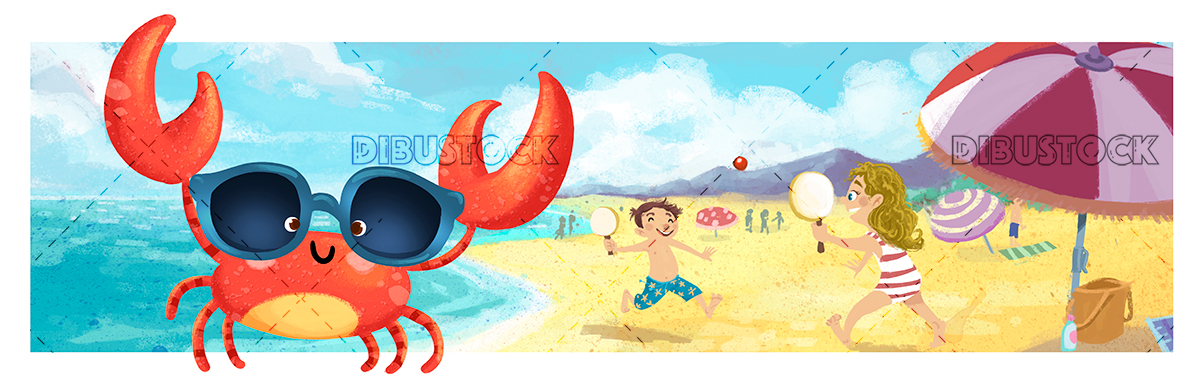 crab on the beach in summer