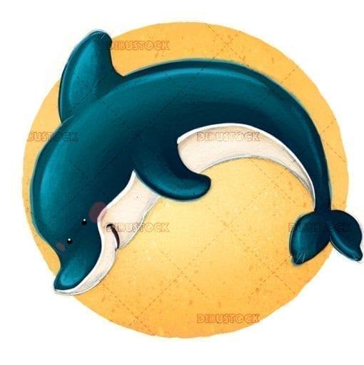 dolphin with sun