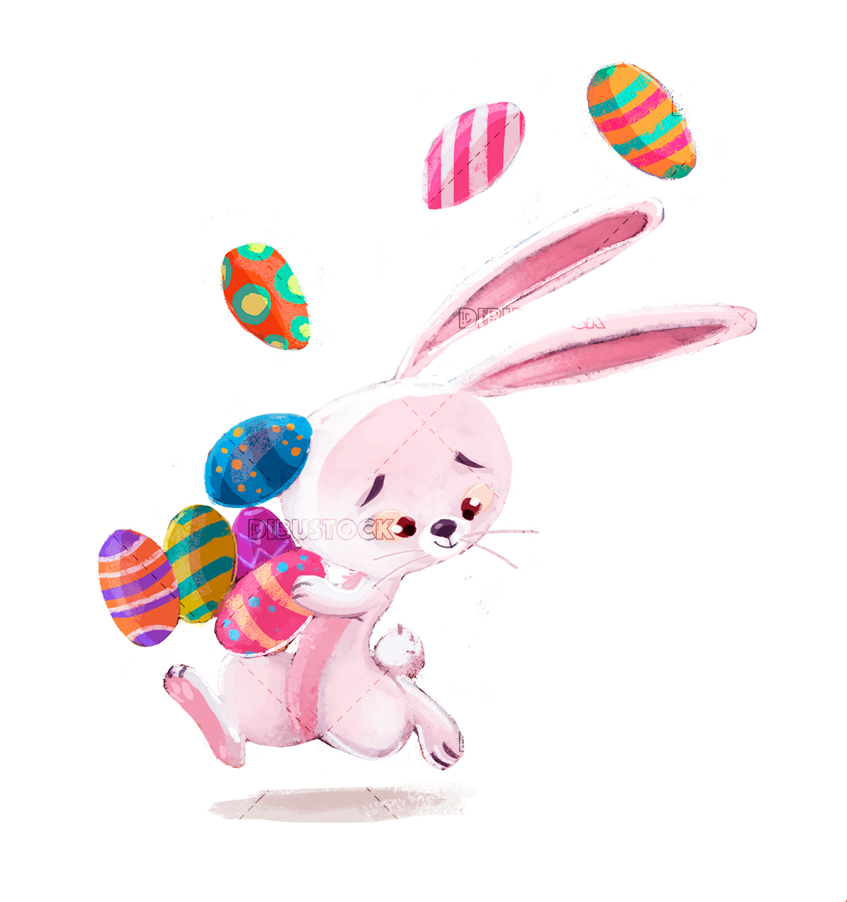 easter rabbit running with eggs